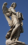A lovely angel on the Ponte (Bridge) Sant' Angelo in Rome, Italy.